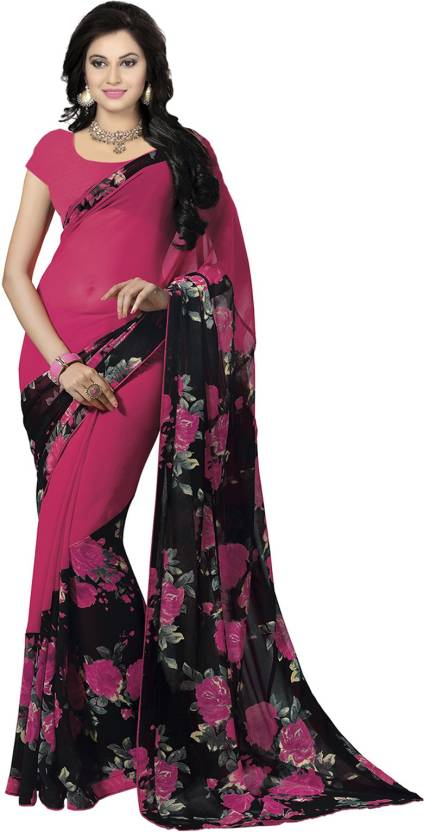 Ishin Printed Fashion Synthetic Georgette Saree  (Pink)