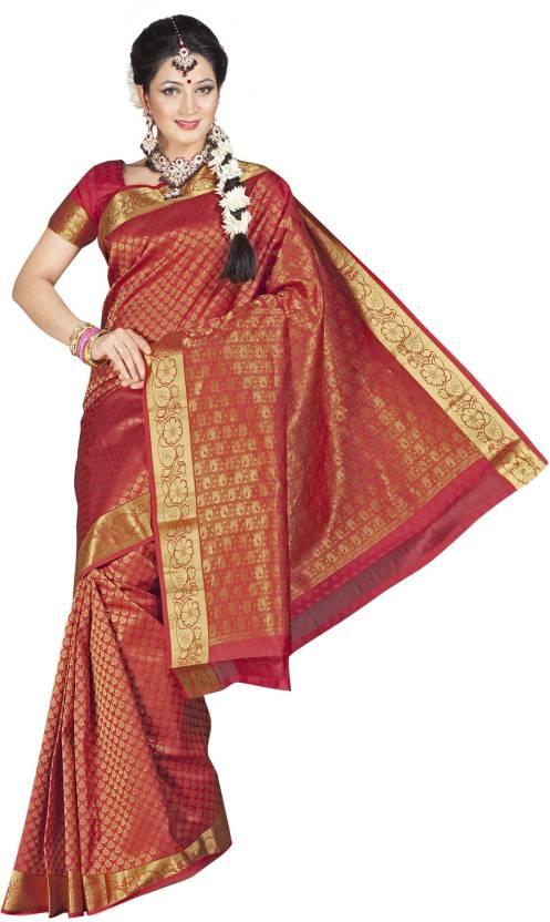 Buy Pothys Self Design Kumbakonam Silk Red, Gold Sarees