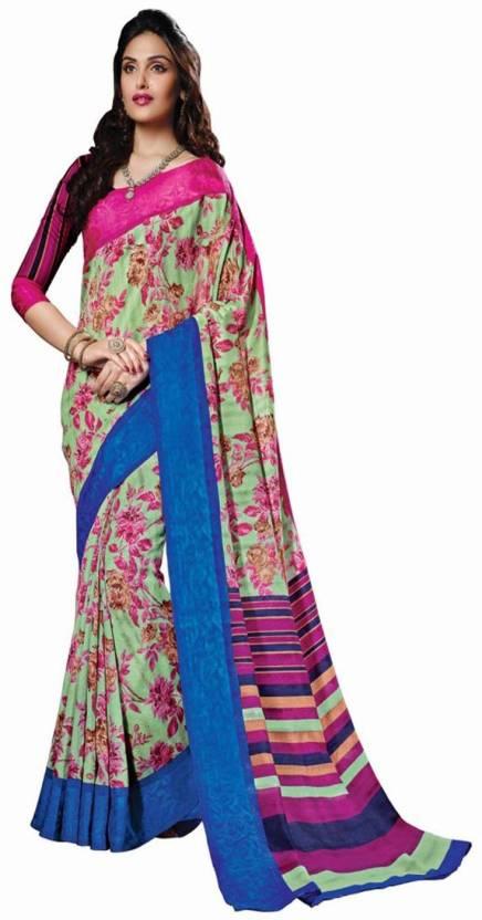 8dc9b10c3e05a Sunita Sarees Printed Mysore Handloom Polycotton Saree (Pink