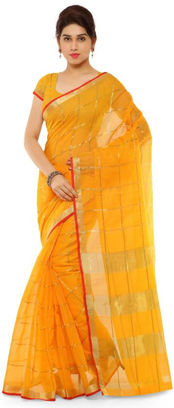Rangoon Printed Fashion Cotton Saree  (Yellow)
