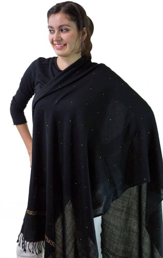 Stole & Yarn Embellished Pure Wool Women's Stole - Buy Black