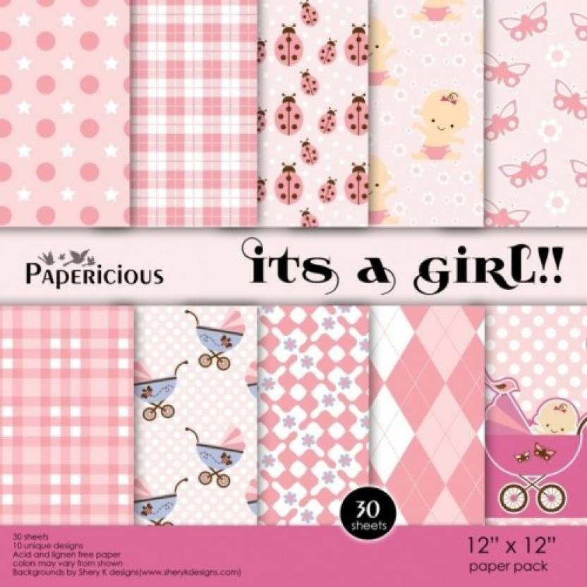Papericious Paper Pack Its A Girl Theme Scrapbook Kit Price In