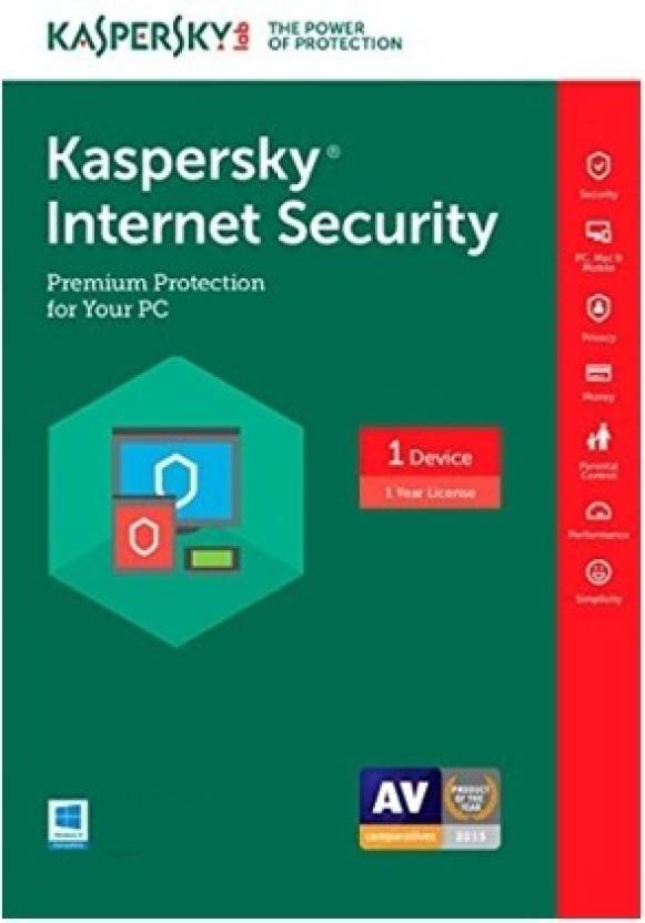 Kaspersky Internet Security 2017 1 Pc 1 Year 1 Instalation cd ,365 days valid Serial key)