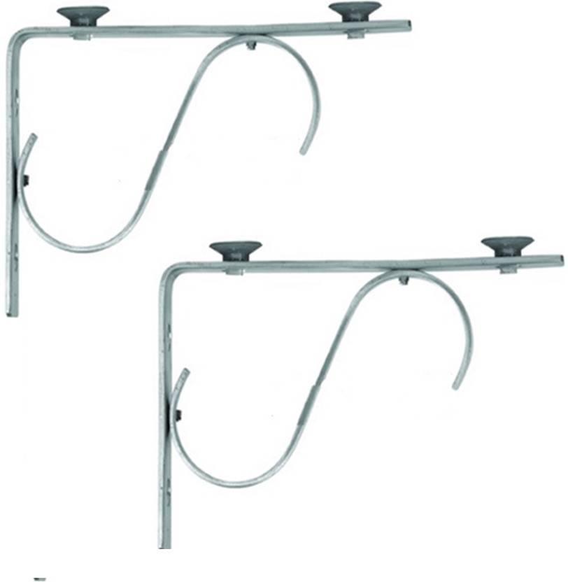 Smart Shophar Stainless Steel 2 Pc  Glass Shelf Bracket S L