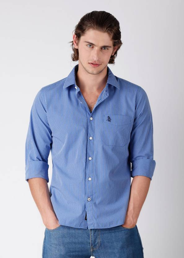 e35c4191b Regent Polo Club Men s Checkered Casual Blue Shirt - Buy White