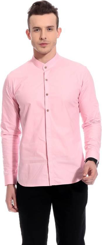 acf3a34da Bolt Men s Solid Casual Mandarin Collar Shirt - Buy Pink Bolt Men s ...