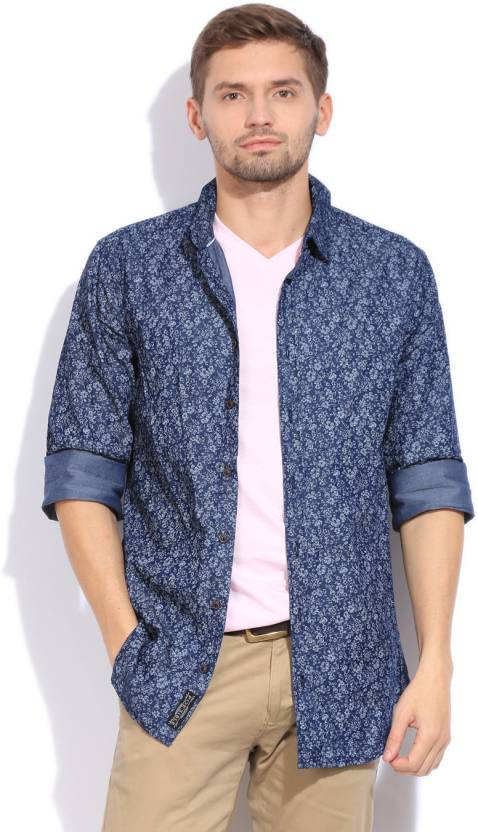 06ae39e1 POE Men's Floral Print Casual Spread Collar Shirt - Buy NAVY POE ...
