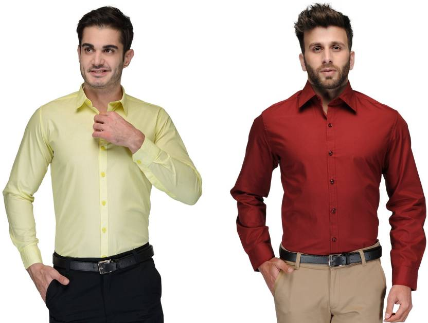Allen Men's Solid Formal Green, Red Shirt