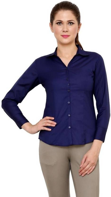 aa99aa77cc2ec Apoyo Women s Solid Formal Regular Collar Shirt - Buy Navy Blue Apoyo Women s  Solid Formal Regular Collar Shirt Online at Best Prices in India