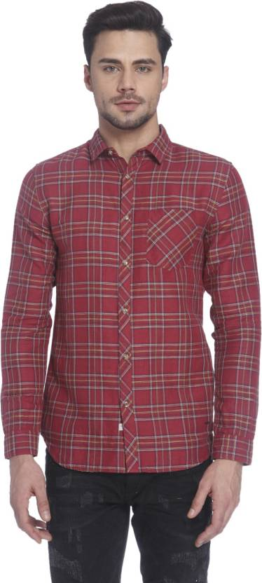 fdc6de1974e Jack & Jones Men's Checkered Casual Red Shirt