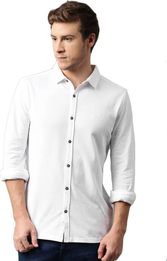 487888e6 HRX by Hrithik Roshan Men's Solid Casual White Shirt - Buy White HRX by  Hrithik Roshan Men's Solid Casual White Shirt Online at Best Prices in  India ...