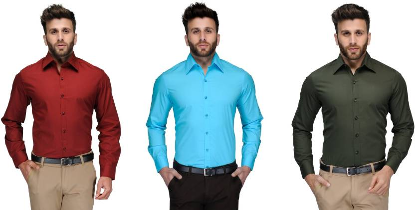 Allen Men's Solid Formal Red, Light Blue, Green Shirt