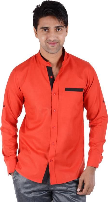6d593c11f70 S9 Men s Solid Casual Designer Collar Shirt - Buy Brick Red S9 Men s ...