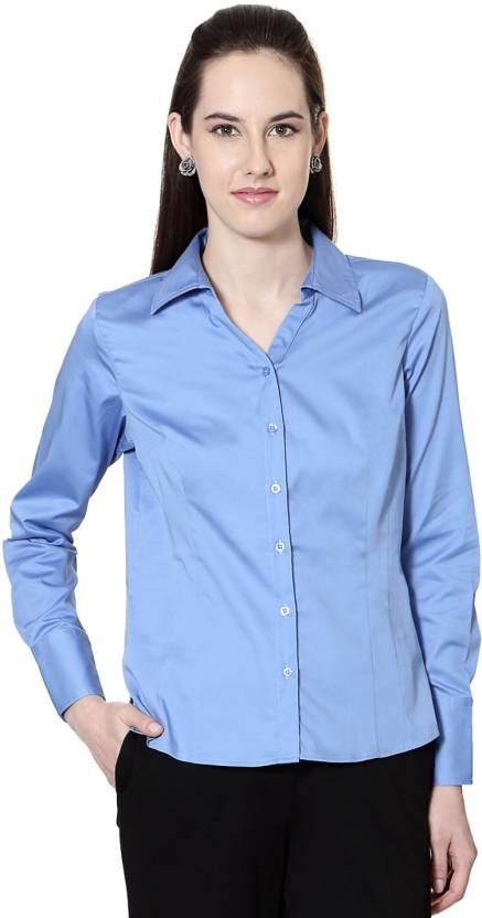 fc60686892 Allen Solly Women's Solid Formal Blue Shirt - Buy Blue Allen Solly ...