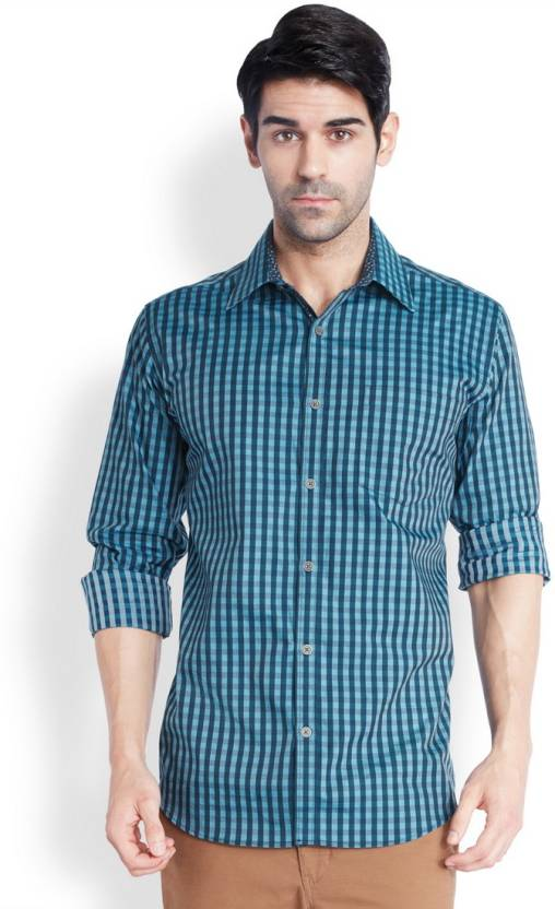 Park Avenue Men's Checkered Formal Blue Shirt