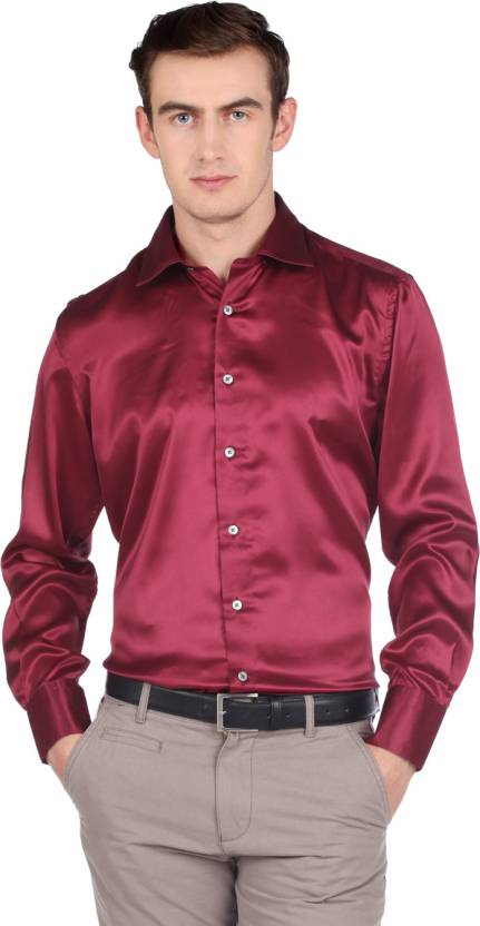 f52d4d8295153f Mark Anderson Solid Men s Silk Shirt - Buy PARTY WINE