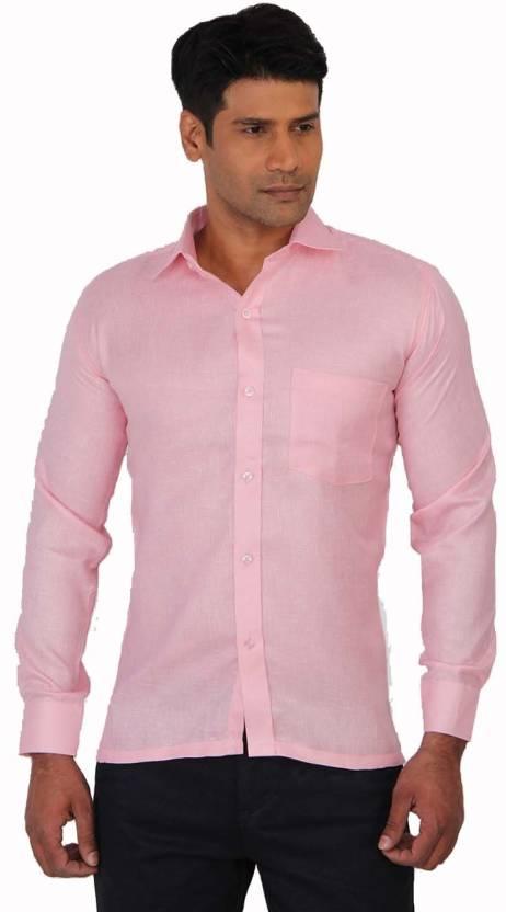 5b377867c8546 Sliver Tag Men's Solid Formal Shirt - Buy Spanish Pink Sliver Tag ...