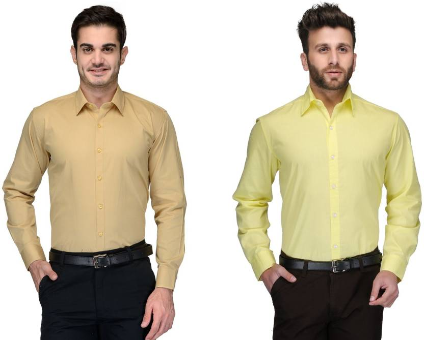 Allen Men's Solid Formal Beige, Yellow Shirt
