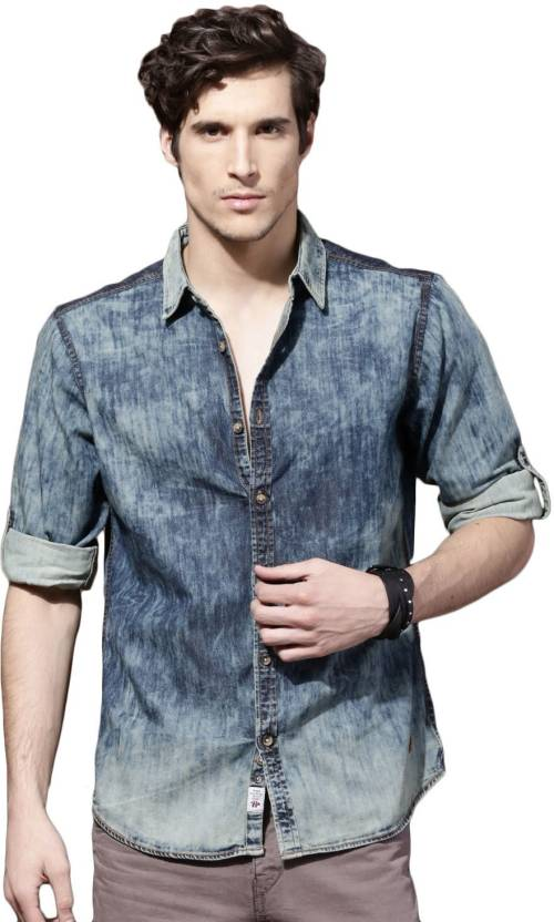 d9ed841c1f3 Roadster Men s Solid Casual Blue Shirt - Buy Blue Roadster Men s Solid  Casual Blue Shirt Online at Best Prices in India