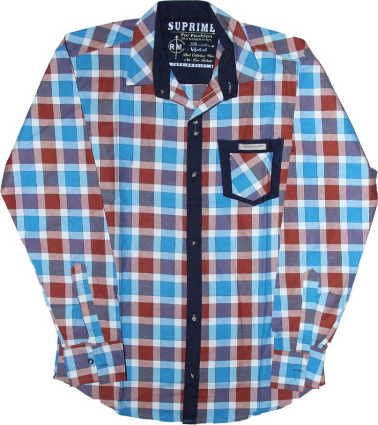 36a42c845cd1 Supreme Boys Checkered Casual Blue Shirt - Buy Blue Supreme Boys Checkered  Casual Blue Shirt Online at Best Prices in India   Flipkart.com