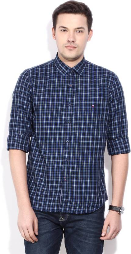 LP Louis Philippe Men's Checkered Casual Dark Blue Shirt