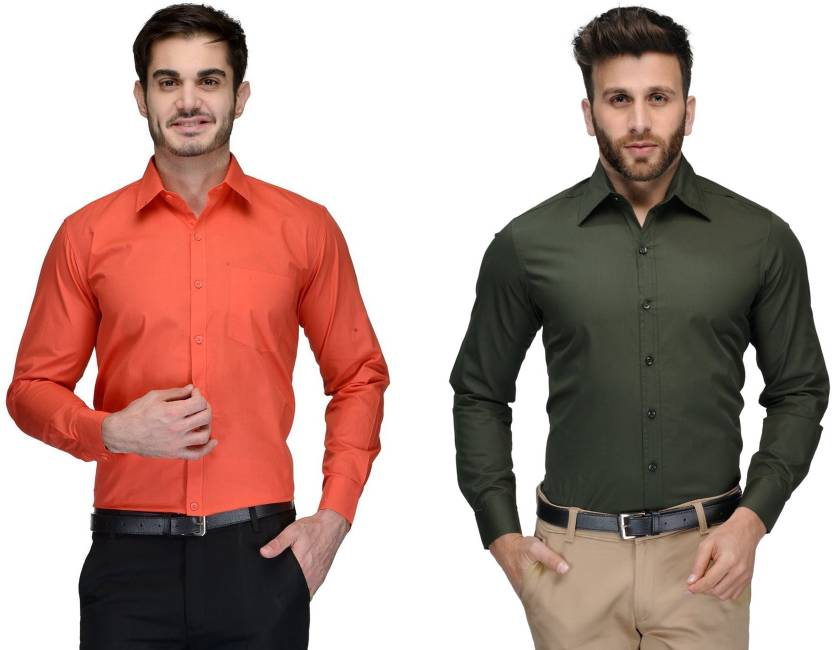 Allen Men's Solid Formal Orange, Green Shirt