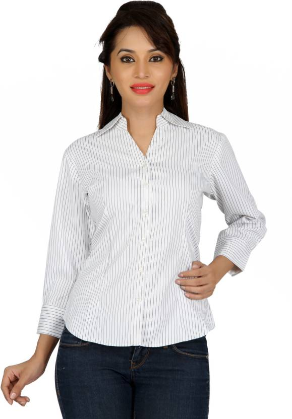 c7ea66d7058 Karishma Women s Striped Formal Shirt - Buy White Karishma Women s ...