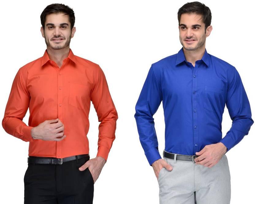 Allen Men's Solid Formal Orange, Blue Shirt