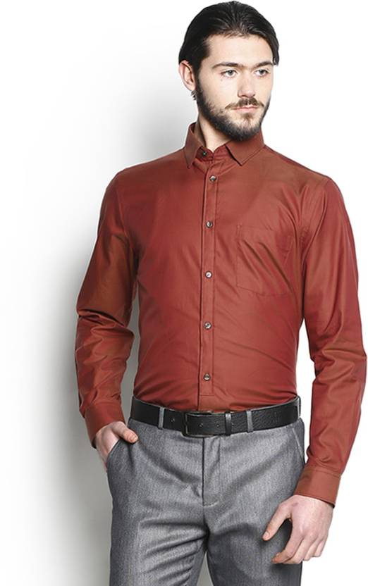 96c3e4c096a Blackberrys Men s Solid Casual Red Shirt - Buy Burnt Orange Blackberrys  Men s Solid Casual Red Shirt Online at Best Prices in India