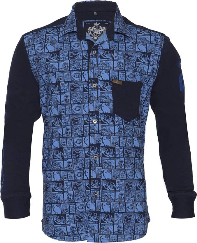 9d1992361 Lumber Boy Boys Printed Casual Cut Away Collar Shirt - Buy ROYAL BLUE  Lumber Boy Boys Printed Casual Cut Away Collar Shirt Online at Best Prices  in India ...