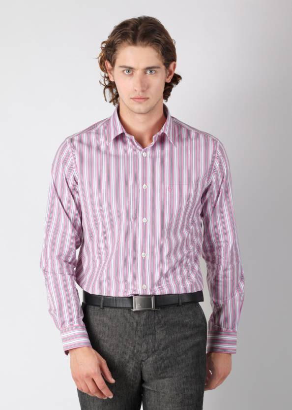 38ce7f44 Burnt Umber Men's Striped Formal White, Pink Shirt - Buy Pink Stripe Burnt  Umber Men's Striped Formal White, Pink Shirt Online at Best Prices in India  ...