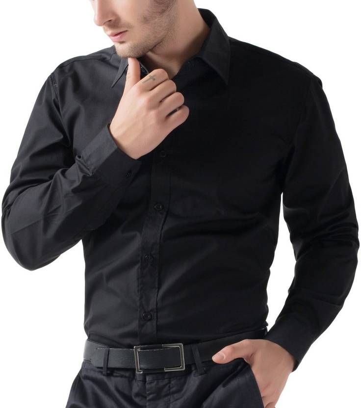 Being Fab Men's Solid Formal Black Shirt