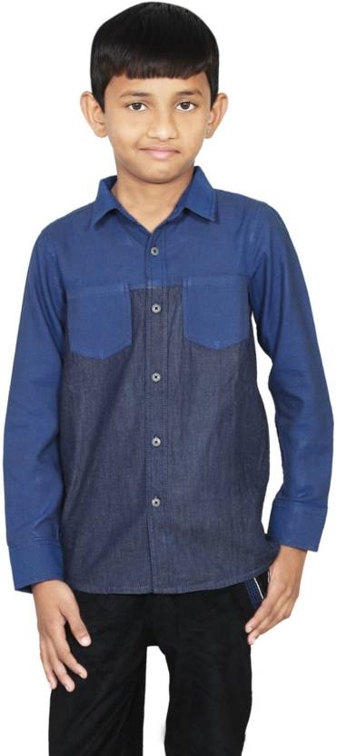 three sum Boys Self Design Casual Denim Dark Blue Shirt
