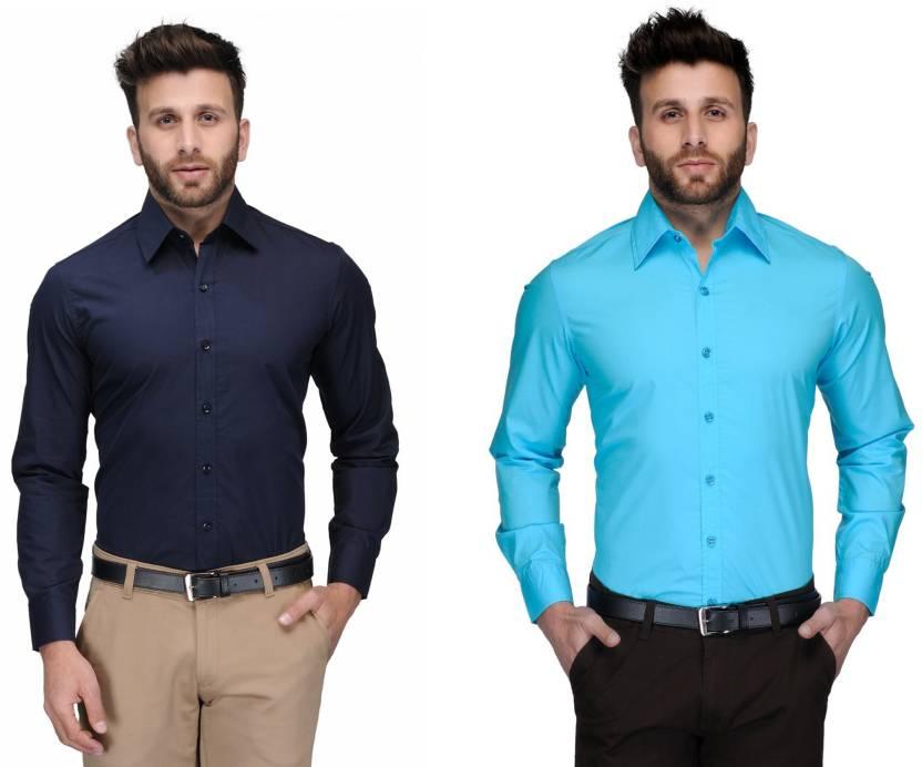 Allen Men's Solid Formal Dark Blue, Light Blue Shirt