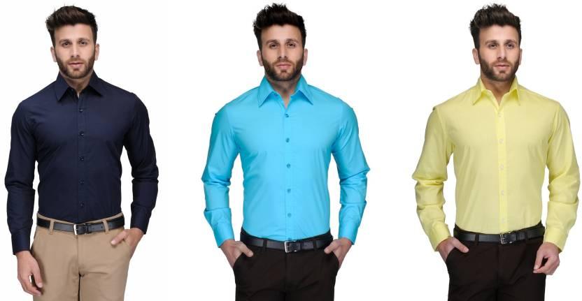 Allen Men's Solid Formal Dark Blue, Light Blue, Yellow Shirt