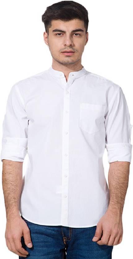 Urbano Fashion Mens Solid Casual White Shirt