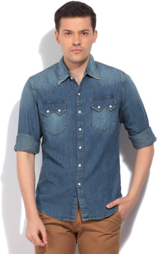 42958d3fc7 Levi s Men s Solid Casual Light Blue Shirt - Buy Blues Levi s Men s Solid  Casual Light Blue Shirt Online at Best Prices in India