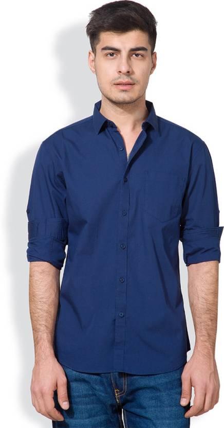 Highlander Mens Solid Casual Light Blue Shirt