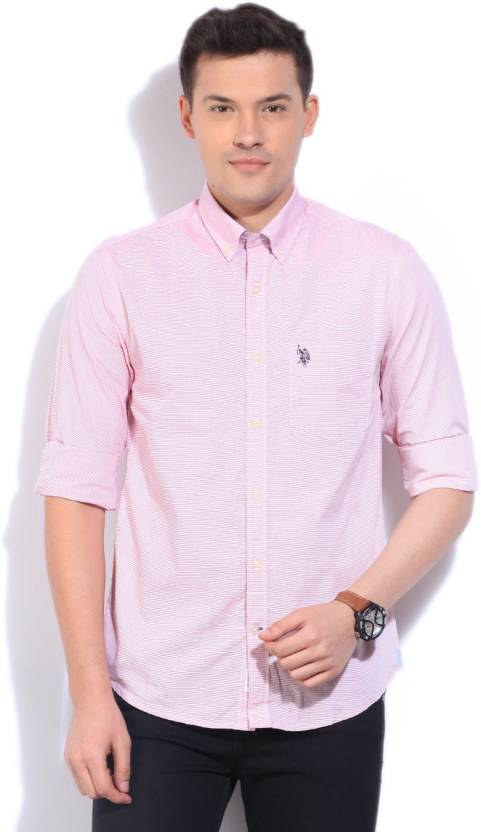 13b26abb9173a U.S. Polo Assn Men s Striped Casual Pink Shirt - Buy RED U.S. Polo Assn  Men s Striped Casual Pink Shirt Online at Best Prices in India