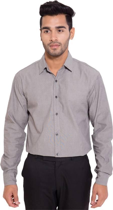79dcafd1f8 Deeksha Men's Solid Formal Grey Shirt