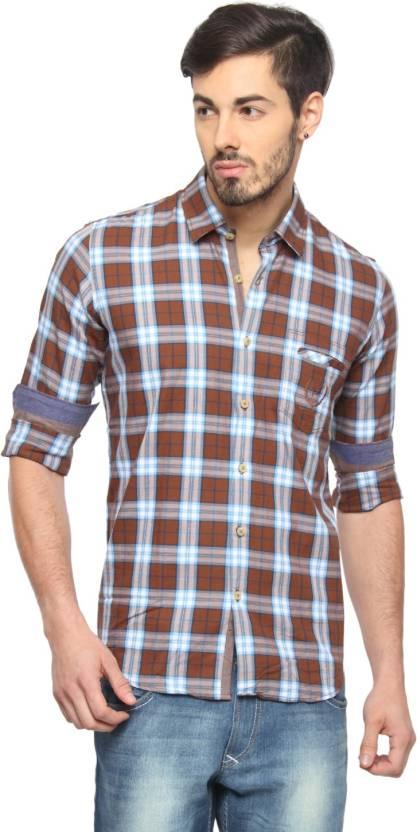 e2e9fac3ead Rockstar Jeans Men s Checkered Casual Brown