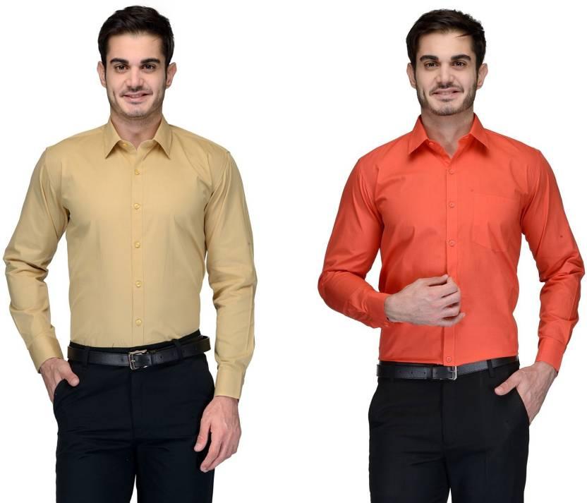Allen Men's Solid Formal Beige, Orange Shirt