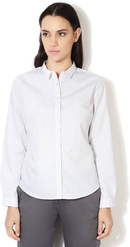 59f726c6db1c84 Allen Solly Women's Striped Formal White Shirt - Buy White Allen Solly  Women's Striped Formal White Shirt Online at Best Prices in India | Flipkart .com
