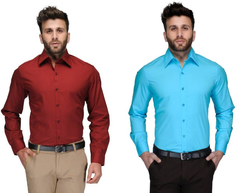Allen Men's Solid Formal Red, Light Blue Shirt