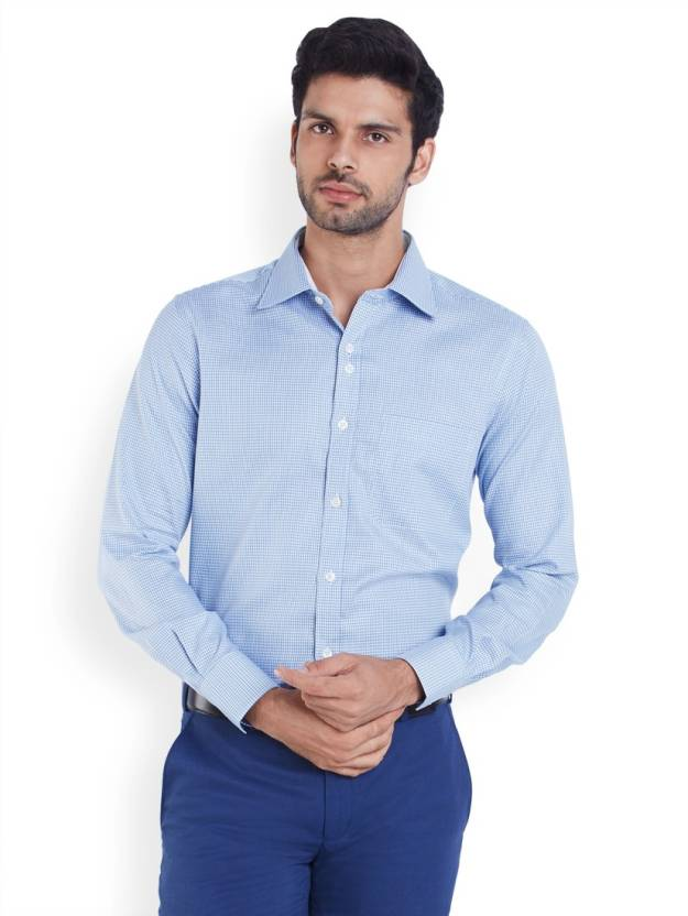 Raymond Men's Solid Formal Blue Shirt