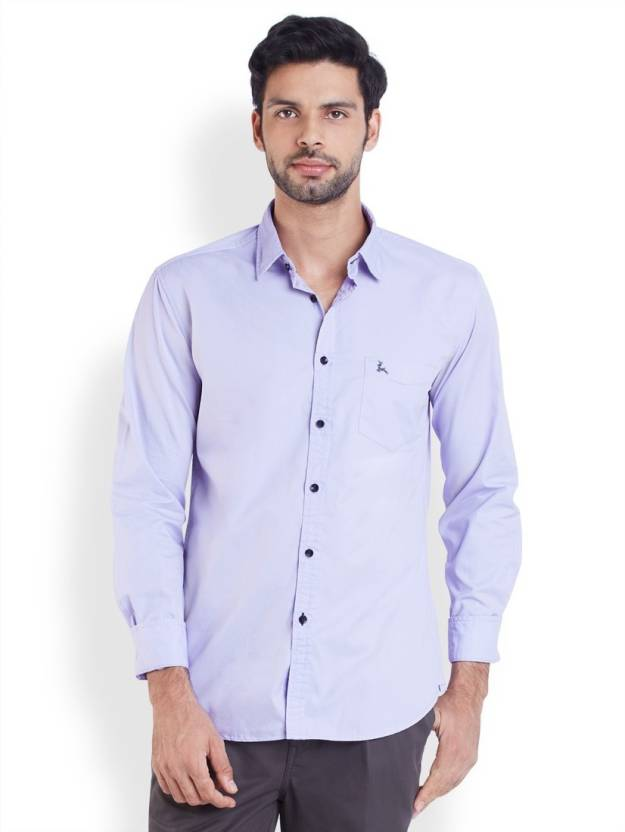 Parx Men's Solid Casual Purple Shirt