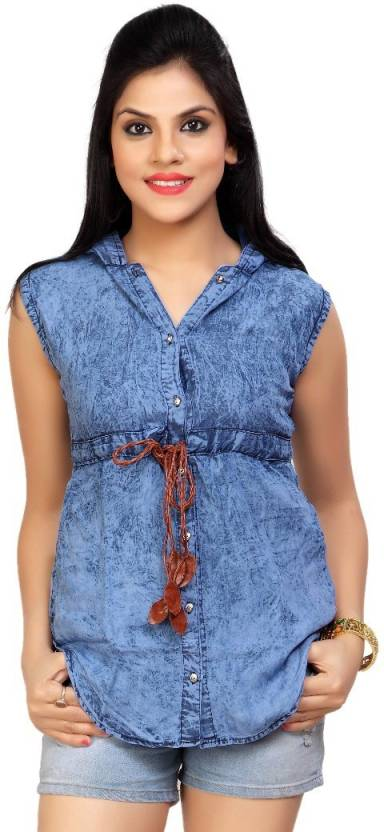 Carrel Women's Solid Casual Denim Light Blue Shirt