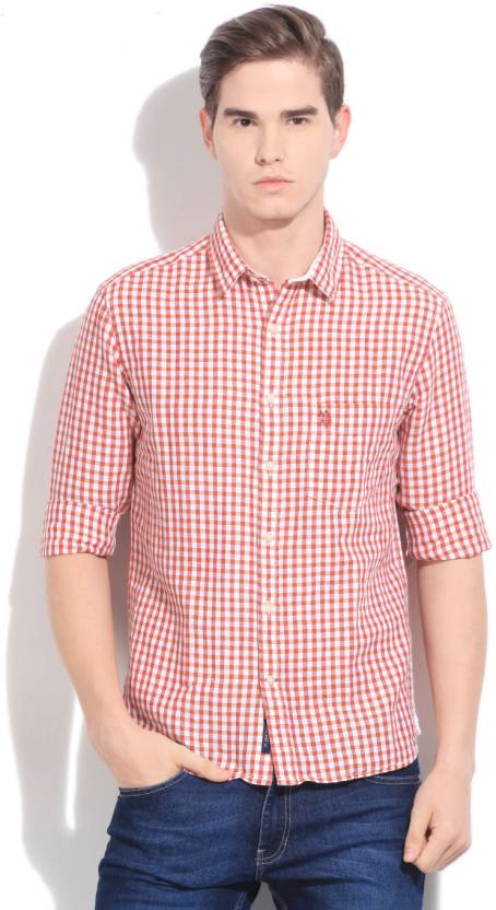 83e8279fc2fc6 U.S. Polo Assn. Men s Checkered Casual Orange Shirt - Buy Orange U.S. Polo  Assn. Men s Checkered Casual Orange Shirt Online at Best Prices in India ...