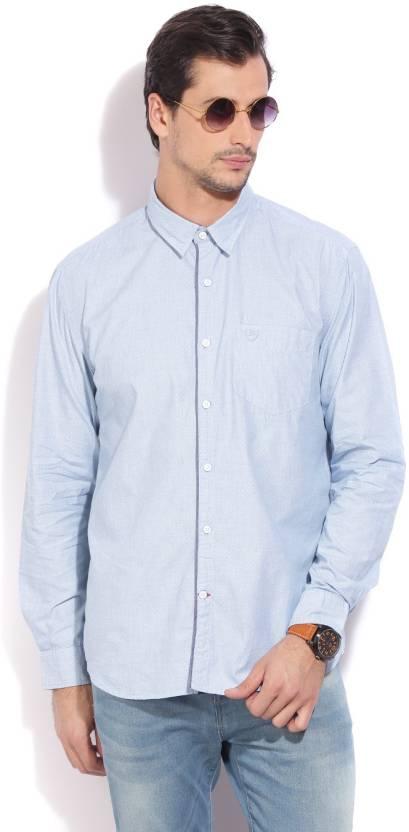 brand new 7c084 b335b Daniel Hechter Men's Self Design Casual Spread Collar Shirt