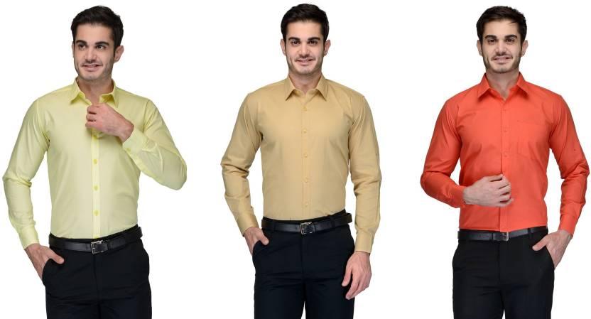Allen Men's Solid Formal Green, Beige, Orange Shirt